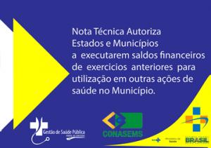 Nota Técnica Autoriza execução financeira de saldos sobre exercicios anteriores.